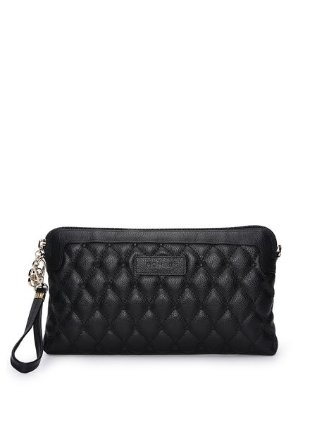 Checkered Embossed Cowhide Leather Zipper Clutch
