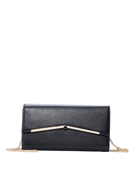 Cowhide Leather Snap Sweet Chain Crossbody Bag