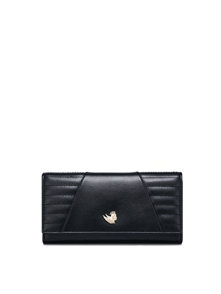 Cowhide Leather Mini Casua Simple Black Wallet