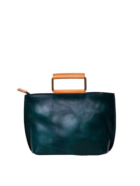 Green Casual Zipper Satchel