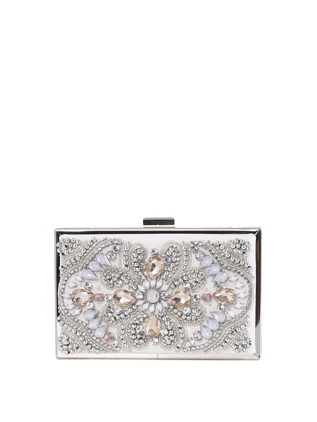 Mini Metallic Trimmed Beaded Evening Clutch