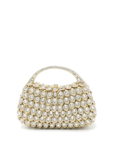Golden Evening Magnetic Glitter-finished Alloy Clutch