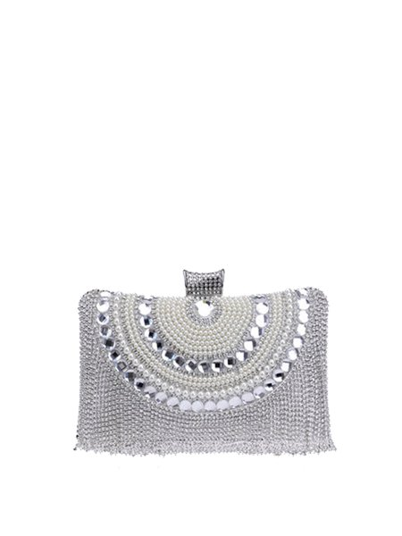Beaded Small Clasp Lock Evening Clutch
