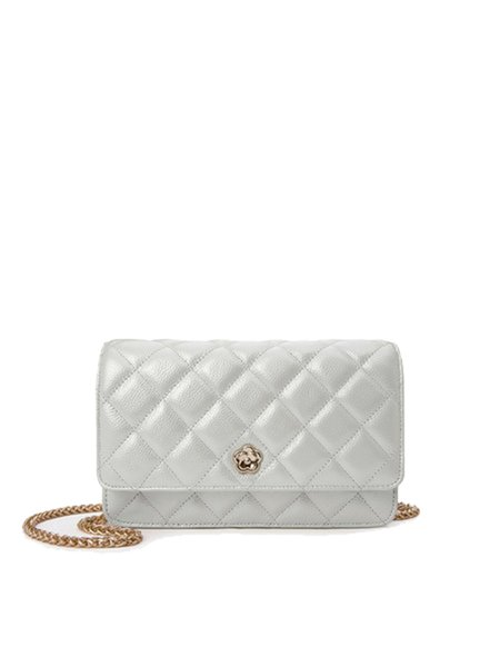 White Cowhide Leather Casual Fold-over Flat Top Crossbody
