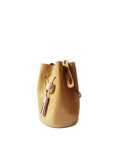 Camel Small Casual Cowhide Leather Drawstring Bucket Crossbody