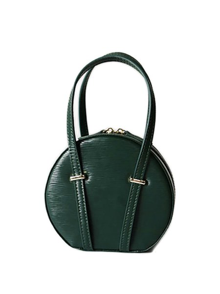 Green Round Cowhide Leather Zipper Top Handle
