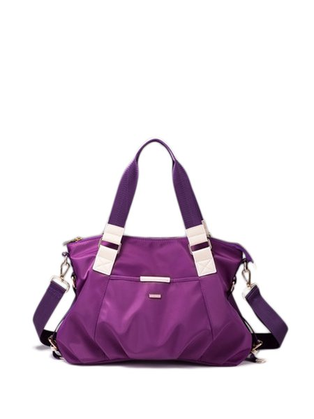 Purple Casual Zipper Nylon Satchel