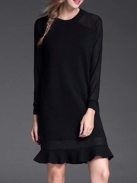 Black Solid Flounce Long Sleeve Knitted Sweater Dress