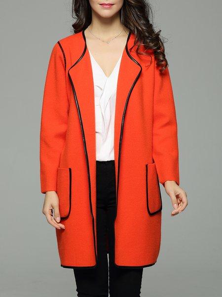 Binding Solid Pockets Long Sleeve Coat