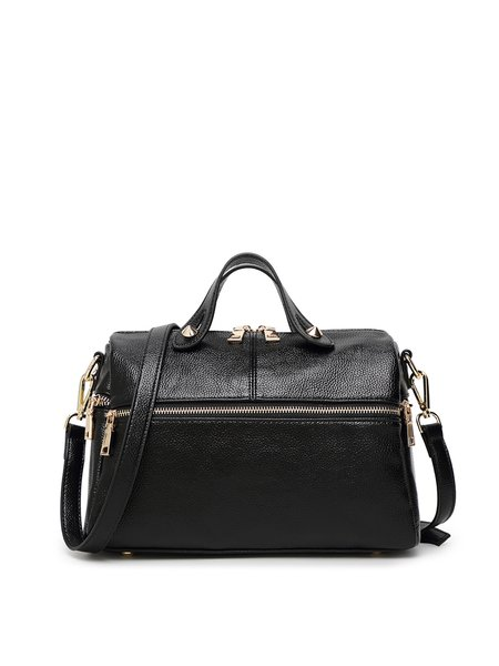 Solid Zipper Casual Cowhide Leather Shoulder Bag