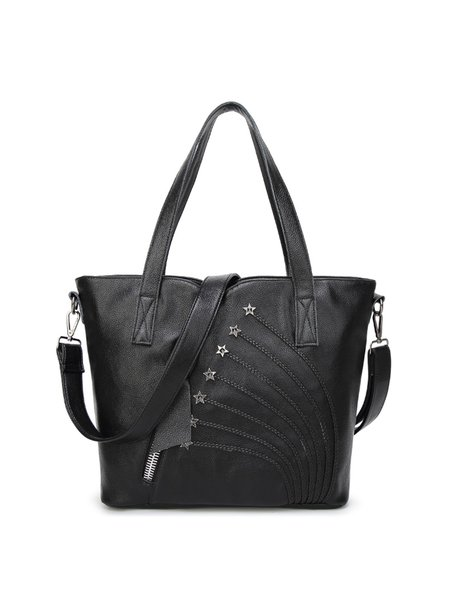 Medium Zipper Cowhide Leather Casual Tote