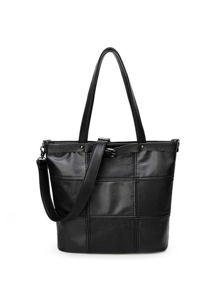 Medium Casual Cowhide Leather Zipper Tote