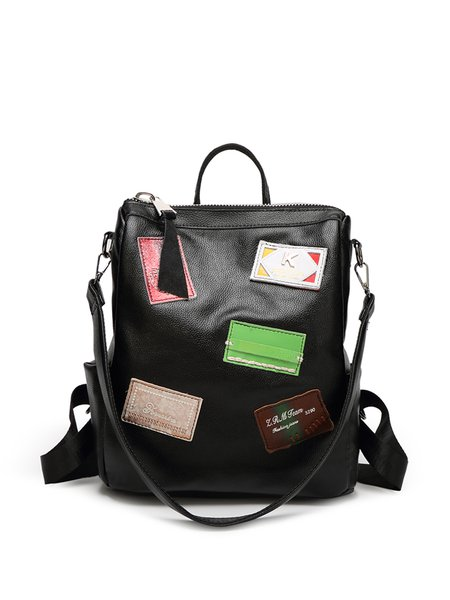 Black Zipper Statement Split Joint Cowhide Leather Backpack