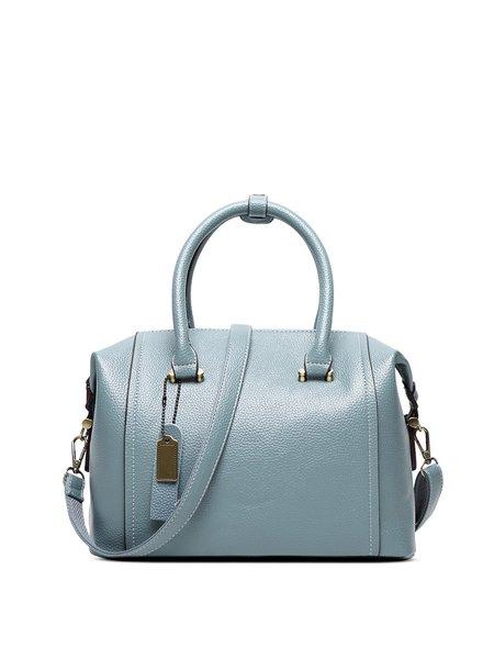 Sky Blue Medium Simple Solid Cowhide Leather Top Handle