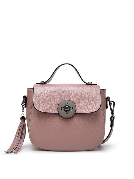 Twist Lock Solid Tassel Cowhide Leather Casual Crossbody Bag
