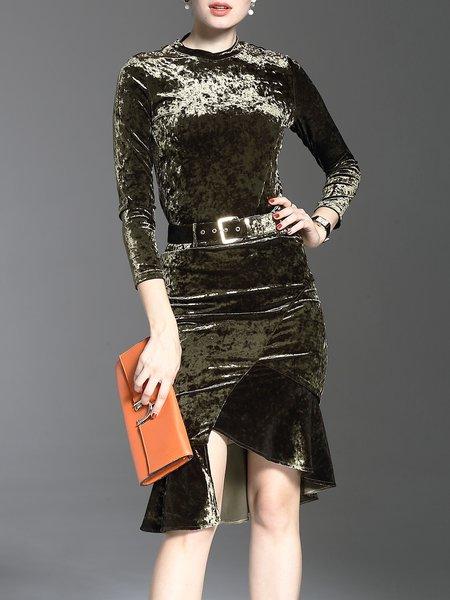 Amy Green Two Piece Slit Elegant Mermaid 3/4 Sleeve Midi Dress
