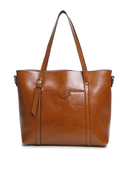 Solid Cowhide Leather Simple Medium Zipper Tote