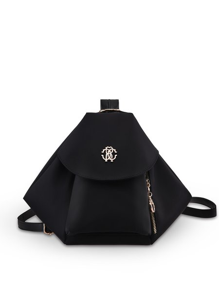 Black Zipper Statement Fold Nylon Backpack