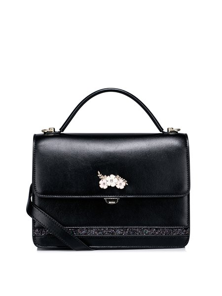 Flowers Embellished  Sweet Push Lock PU Crossbody Bag