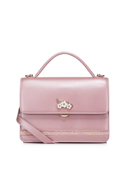 Flowers Embellished Push Lock Sweet Crossbody Bag