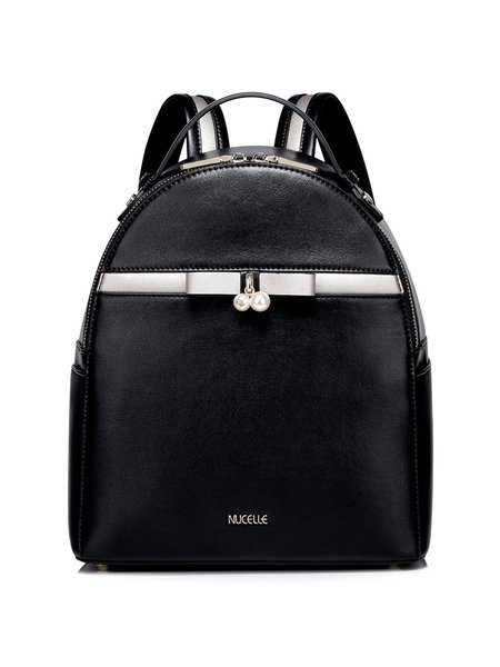 Black Sweet Zipper PU Backpack