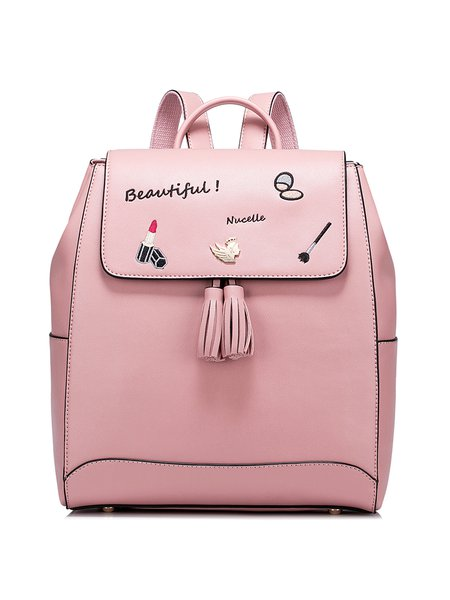 Embroidered PU Sweet Zipper Backpack