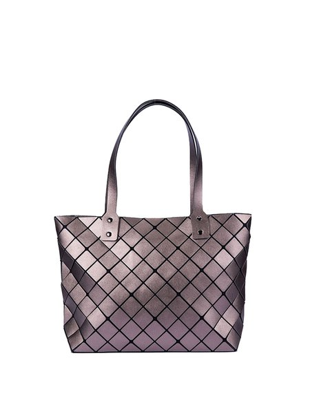 Gray Magnetic Statement Geometric PU Tote