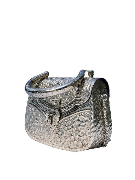 Silver Mini Evening Plated Metal Crossbody