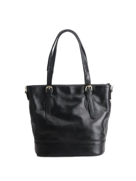 Solid Cowhide Leather Simple Zipper Tote