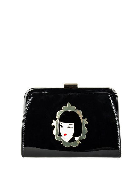 Black Retro Patent Leather Clasp Lock Clutch