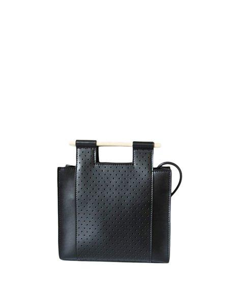 Black Split leather Casual Zipper Wooden Handle Shoulder Bag