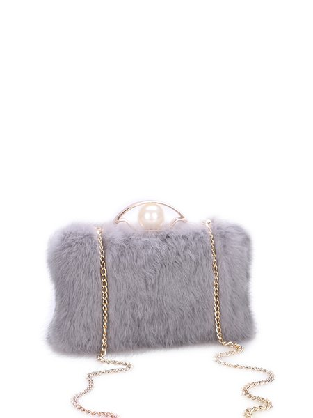Fur Evening Clasp Lock Crossbody Bag