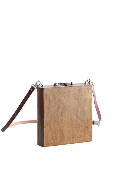 Brown Wooden Simple Small Square Crossbody