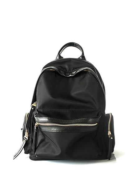 Black Solid Cowhide Leather Zipper Backpack
