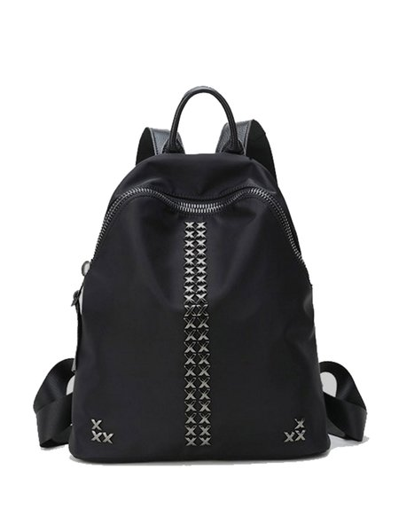 Black Large Rivet Cowhide Leather Street Backpack