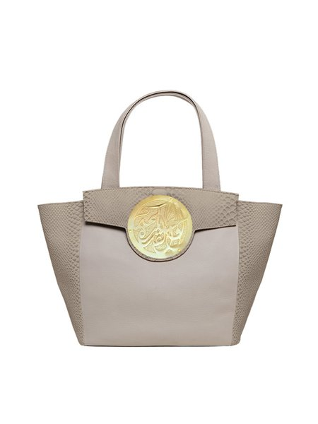 Brown Large Lizard Embossed Cowhide Leather Casual Magnetic Tote