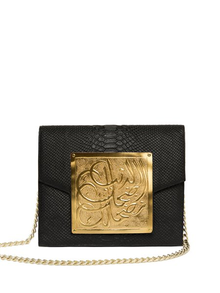 Black Python Embossed Cowhide Leather Magnetic Shoulder Bag