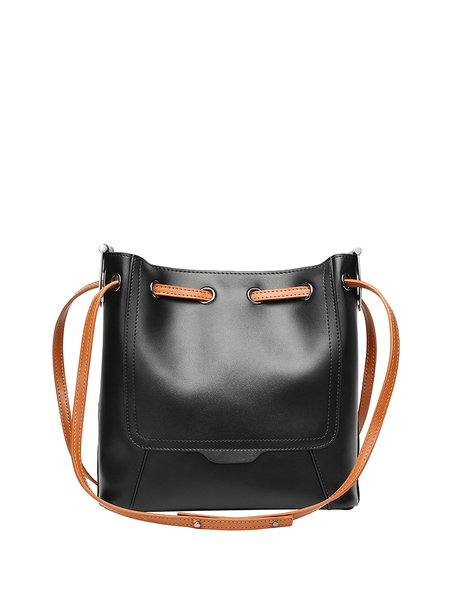 Solid Casual Cowhide Leather Zipper Shoulder Bag