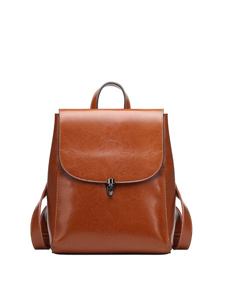 Solid Cowhide Leather Push Lock Simple Medium Backpack