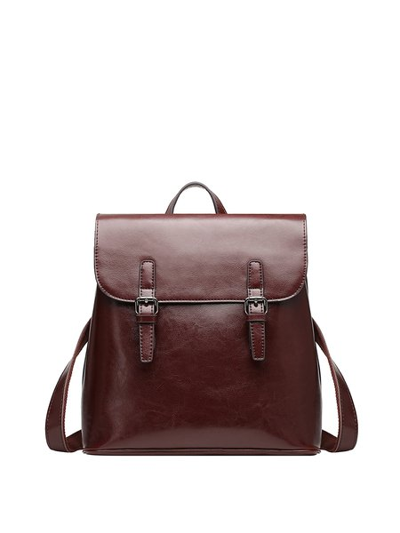 Coffee Large Plain Cowhide Leather Backpack