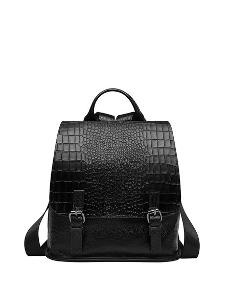 Magnetic Crocodile Embossed Cowhide Leather Casual Backpack
