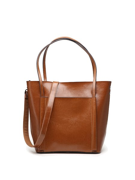 Medium Plain Cowhide Leather Simple Zipper Tote