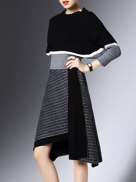Two Piece Knitted Color-block Batwing Stripes Asymmetrical Sweater Dress