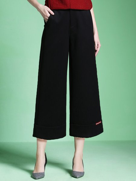 Solid Knitted Casual Wide Leg Pants