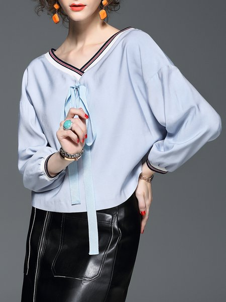 Bow Striped H-line V Neck Long Sleeved Top