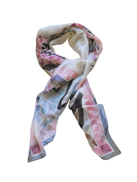 Multicolor Casual Silk-chiffon Abstract Printed Scarf
