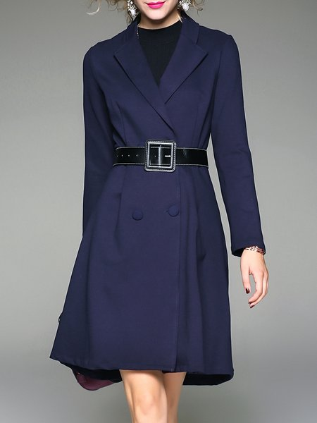 Navy Blue Long Sleeve A-line Buttoned Lapel Coat With Belt