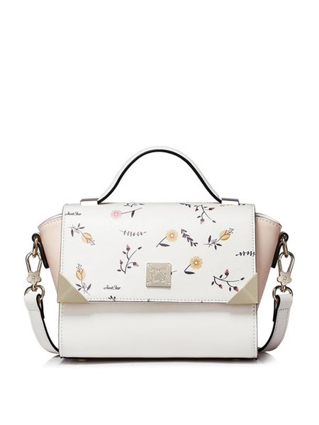White PU Push Lock Casual Satchel