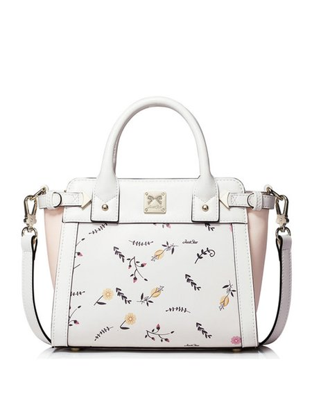 White Zipper PU Satchel