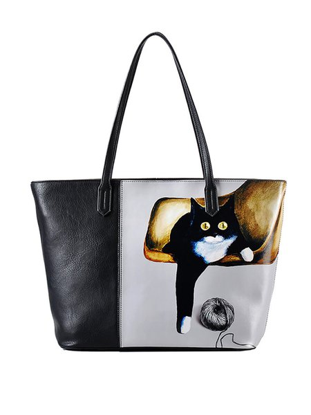 Black Color-block Cat Printed Zipper Tote